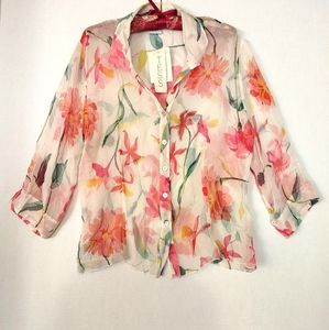 Tess sheer silk blouse